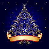 Christmas tree blue. Gold christmas tree on blue background stock illustration