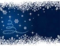Christmas tree on blue background. Abstract winter blue background, with snowflakes and Christmas tree, illustration Stock Photos