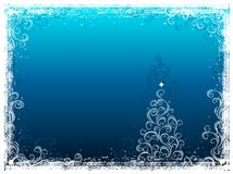 Christmas tree on blue  background Royalty Free Stock Images