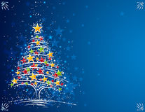Christmas tree  on the blue background Stock Photos