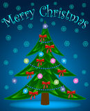Christmas tree  on  blue  background. Vector illustration Stock Images