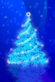 Christmas tree on a blue background Royalty Free Stock Photo