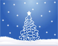 Christmas tree ,blue background Stock Images