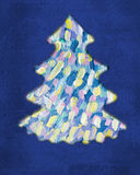 Christmas tree on blue background. Abstract painting. Stock Photo