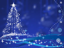 Christmas tree on blue background with balls Royalty Free Stock Images