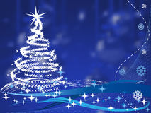 Christmas tree on blue background with balls Stock Photos