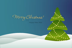 Christmas tree on blue background card. Vector illustration Royalty Free Stock Image