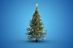 Christmas tree on blue background. With copy space Stock Photography