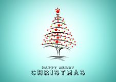 Christmas tree on blue background. Design elements for holiday cards Royalty Free Stock Photos