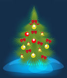 Christmas tree on a blue background. EPS10 vector. Illustration Stock Image
