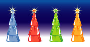 Christmas tree on blue background. four colors. Royalty Free Stock Photos