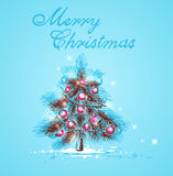 Christmas tree on a blue background. Greeting card  with Christmas tree on a blue background Royalty Free Stock Images