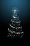 Christmas tree on blue background. Merry xmas Royalty Free Stock Image