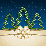 Christmas tree on blue background. Blue background with three Christmas tree and beige bow, illustration Stock Photos