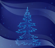 Christmas tree on blue background - vector Stock Photo