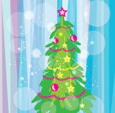 Christmas tree on the blue background Stock Photo