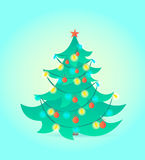 Christmas tree on blue background. Vector illustration. Cartoon style Royalty Free Stock Photography