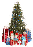 Christmas tree with blue ball, group gift box. Stock Photos