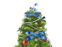 Christmas Tree With Blue Bows Stock Images