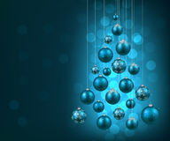 Christmas tree with blue christmas balls. Royalty Free Stock Images