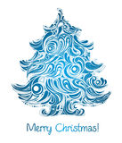 Christmas tree in blue color royalty free illustration