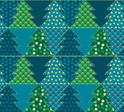 Christmas tree blue color abstract background. In patchwork style. seamless pattern vector illustration with fir tree. repeatable peasant style patch fabric Stock Images