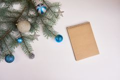 Christmas tree with blue decoration on white background. space f Stock Images