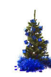 Christmas tree with blue decorations Stock Image