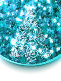 Christmas tree on blue glitter. EPS 8 Stock Photos