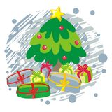 Christmas tree on blue greeting card  illustration Stock Photography