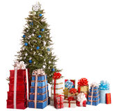 Christmas tree blue, group gift box, copy space. Royalty Free Stock Photos
