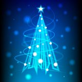 Christmas tree of blue light for new year card,  background Stock Photo