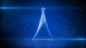 Christmas tree and blue light stripes Stock Photo