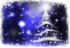 Christmas tree blue lights formed from stars background snow. Christmas tree lights formed from stars background blue Royalty Free Stock Images