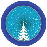Christmas Tree Blue Medallion Stock Image