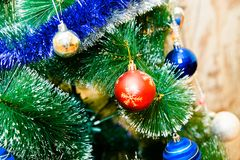 Christmas tree with blue, red and golden balls royalty free stock photo