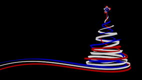 Christmas Tree From Blue, Red And White Tapes. 3D Animation. Alpha Matte stock video