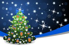 Christmas tree with blue ribbon Royalty Free Stock Photography