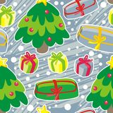 Christmas tree on blue scratches Stock Photos