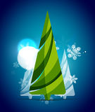 Christmas tree, blue shiny abstract background Royalty Free Stock Photos