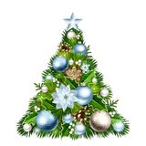 Christmas tree with blue and silver decorations. Vector illustration. Stock Photo