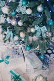 Christmas tree with blue and silver details in the interior Stock Photo