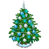 Christmas tree with blue and silver toys. Vector Stock Image