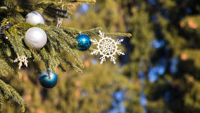 Christmas tree on blue sky background Stock Images