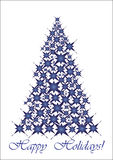Christmas tree - blue stars. Happy Holidays!  illustration, Unusual Christmas tree for your Greeting card Stock Photos