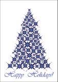 Christmas tree - blue stars Stock Photos