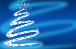 Christmas tree blue with stars and snowflakes Stock Photography
