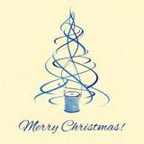 Christmas tree, blue thread xmas decoration Stock Photo