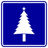 Christmas tree blue vector sign Royalty Free Stock Photography