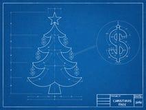 Christmas - Tree Blueprint Royalty Free Stock Image